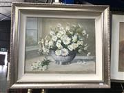 Sale 9033 - Lot 2001 - Mary Simpson Daisies in Silver Bowl 1992oil on canvas 58 x 68cm (frame) signed and dated lower right