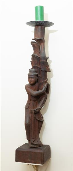 Sale 9164H - Lot 94 - A carved Burmese figural candle stick depicting acrobats on square base, Height 73cm x base Width 15.5cm