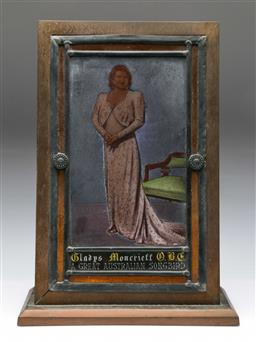 Sale 9164 - Lot 192 - A Hand Painted Gladys Monteith Leadlight Glass Display On Heavy Brass Stand (48cm x 35cm x 15cm)
