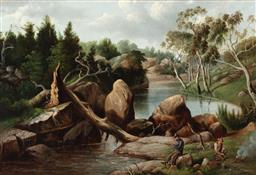 Sale 9214 - Lot 544 - FRED WOODHOUSE SNR (1820 - 1909) Fishing by the River, 1894 oil on canvas 58 x 88 cm (frame: 75 x 105 x 10 cm) signed and dated lo...