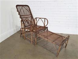 Sale 9188 - Lot 1510 - Vintage cane steamer with built in footstool below (h101 x w56 x d1500