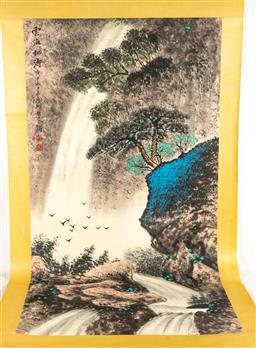 Sale 9211 - Lot 88 - A Chinese Ink and Watercolour Scroll Attributed to Li Xiongcai (135cm x 65cm)