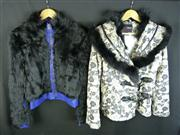 Sale 7982B - Lot 7 - Versace, two winter coats, one in fur and leather, the other printed with a fur collar, both Medium