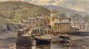 Sale 8000 - Lot 26 - William Henry Pike (British, 1846 - 1908) - Untitled (Cornish Village and Harbour)1888 oil on board