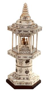 Sale 8040 - Lot 38 - Ivory Carved Temple of Hexagonal Form