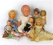 Sale 8330T - Lot 104 - Eight Vintage Dolls; 3 x 1950s English plastic including a pair of twin Tudor Rose baby dolls (8) and Sarold (10), 3 x 1950s I...