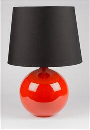 Sale 8350L - Lot 16 - A pair of red ball lamps with black shades, total H 49cm, RRP $ 840, by Bagni