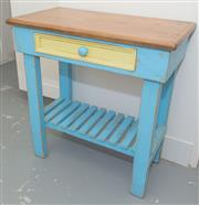 Sale 8380A - Lot 44 - A blue and yellow painted timber side table with single drawer and shelf, H 77 x W 73 x D 39cm