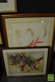 Sale 8458 - Lot 2071 - (2 works) Gloria Muddle (XX) Scarlet Birds, watercolour