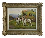 Sale 8586A - Lot 13 - Morey, Belgium, early C20th School - Spaniels 38 x 55 cm
