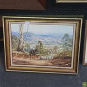 Sale 8640 - Lot 2023 - Ronald Peters - Sheep Droving, Acrylic on Board, SLL