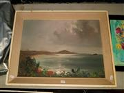 Sale 8678 - Lot 2090 - Artist Unknown - Coastal Scene, oil on board, 39.5 x 54cm, unsigned