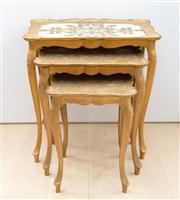 Sale 8703A - Lot 44 - A nest of three florentine tables with acanthus cream and gilt design, H x 57cm, W x 55cm, D x 35cm