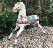 Sale 9015G - Lot 89 - Timber Carnival/Rocking Horse (General Wear , Missing Ears, Paint Peeling. Surface Rust ,Mirror Cracking) Size 129 cm Widest x 110cm H