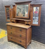 Sale 9043 - Lot 1015 - Arts and Crafts Mirrored Back Dresser (H:178 W:106 D:53cm)