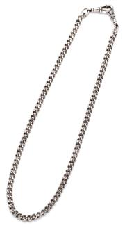 Sale 9090J - Lot 389 - AN ANTIQUE SILVER ALBERT CHAIN; curb links with 2 swivel clasps, length 40cm, wt. 23.60g.
