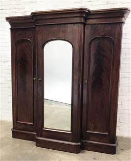 Sale 9097 - Lot 1024 - Late 19th Century Cedar Breakfront Wardrobe, with central mirror panel door, flanked by two timber panel doors (distressed, h:212 x...