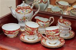 Sale 9098H - Lot 34 - A Paragon coffee service for six in the pompadour pattern comprising coffee pot, milk jug, sugar bowl and six cups and saucers.