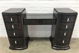 Sale 9121 - Lot 1069 - Empire style twin pedestal sideboard with granite top (h:97 w:123 d:49cm)
