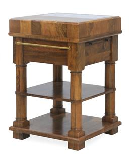 Sale 9140F - Lot 152 - Hardy Interiors original design. A honeycomb square chopping block made from fruitwood with marble stone in lay on top. Includes inb...