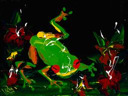 Sale 9174JM - Lot 5009 - DEAN VELLA (1958 - ) Small Green Frog oil and acrylic on board 37.5 x 49.5 cm (frame: 71 x 81 x 3 cm) signed lower left