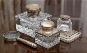 Sale 9195H - Lot 70 - A group of desk top items including silver topped inkwells and a magnifying glass (damages)