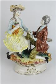 Sale 8396 - Lot 26 - Capodimonte Lamp Base Modelled as a Courting Couple