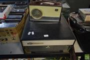 Sale 8530 - Lot 2163 - His Masters Voice HMV Monaco, Monarch Vintage Electric 7in Record Player with AWA Radiola Eight Portable Radio (2)