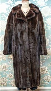 Sale 8577 - Lot 77 - A vintage stranded Mink fur swing full length coat, fully lined and inside pocket, size M/L, Condition: Excellent