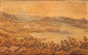 Sale 8914 - Lot 2042 - Ernest Decimus Stocks (1840 - 1921) Harbour View and Settlement 1885 watercolour, 36.5 x 57cm, signed and dated lower right -
