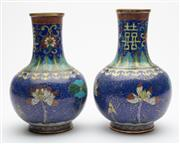 Sale 9020H - Lot 26 - A pair of Cloisonne vases on blue ground, prov: The Estate of the Late Jane Glad, daughter of Norman Lindsay, each height 23cm, old...