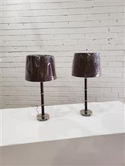 Sale 9059 - Lot 1071 - Pair of UK Chrome & Brown Leatherette Table Lamps - 5700 (h:62cm)