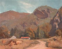 Sale 9116A - Lot 5045 - Robert Simpson (1955 - ) Sunlit Track to Capertee Valley, 1979 oil on board 29 x 39 cm (frame: 49 x 59 x 5 cm) signed and dated lowe...