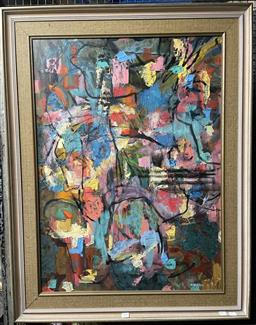Sale 9135 - Lot 2019 - Valda Morris Abstract c1950-60s oil on board 104 x 80cm, signed lower right