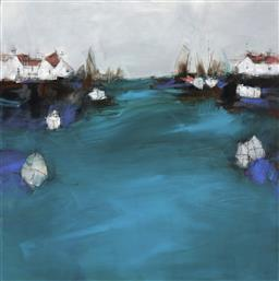Sale 9174JM - Lot 5059 - R. LANE Harbour, 2012 acrylic on canvas 90 x 90 cm inscribed, dated and titled verso