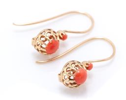 Sale 9221 - Lot 372 - A PAIR OF VICTORIAN STYLE 9CT GOLD CORAL EARRINGS; fluer de lis crown set with cabochon corals to shepherds hook fittings, size 21 x...