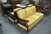 Sale 7981A - Lot 1051 - Three Piece Lounge Suite inc. Three Seater w Rattan Back and Matching Pair of Armchairs