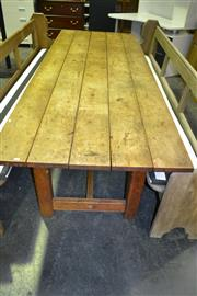Sale 8093 - Lot 1466 - Large Outdoor Table on Stretcher Base
