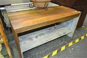 Sale 8175 - Lot 1015 - Two Rustic Timber Tables, One With Metal Tier Below