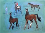 Sale 8257A - Lot 73 - Michael Lodge (1942 - ) - Thoroughbreds, 2012 75 x 100cm