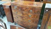 Sale 8375 - Lot 1069 - Georgian Mahogany Bow-Front Chest of Five Drawers, with string inlay and brass ring handles (one handle missing)