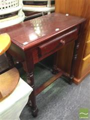Sale 8412 - Lot 1071 - Single Drawer Hall Table on Turned Legs with Stretcher Base