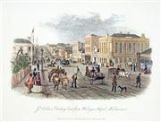 Sale 8549A - Lot 5094 - Samuel Thomas Gill (1818 - 1880) - Collins Street looking east from Wesleyan Chapel, Melbourne 16.5 x 21cm (mount size: 31.5 x 35cm)