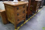Sale 8550 - Lot 1229 - Pair of Timber Bedsides with Three Drawers