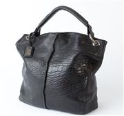 Sale 8550F - Lot 216 - A large Jacob hand bag in soft pebbled black leather, silver tone ring attachments and silver lining, W 33 x H 39cm.