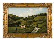 Sale 8716A - Lot 6 - Herding cattle by Paul Schouten 1860- 1922 Belgium. Oil on panel signed. 28 x 43 cm in original frame.