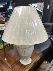 Sale 8809 - Lot 1024 - Pair of Italian White Ceramic Table Lamps with Bamboo Motifs (2655)