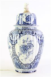 Sale 8849P - Lot 657 - A Large Blue and White Floral Decorated Delfts (Made for Royal Sphinx By Boch Holland) Table Lamp (H 46cm, Untested)