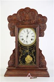 Sale 8905S - Lot 603 - An Edwardian timber frame mantle clock. Height 56cm x Length 36cm