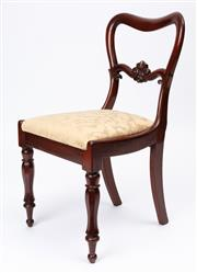 Sale 9044J - Lot 73 - A setof 10 antique English mahogany kidney back chairs C: 1880. The waisted backs joined by a carved and shaped centre rail above ta...